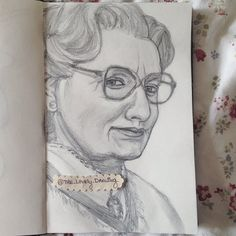 """Robin Williams as Mrs. Doubtfire. 5"""" x 8"""" sketchbook. Graphite pencils. 2014. By: Marissa Asal (The_Lovely_Drawing on Instagram)"""