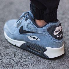 Nike Air Max 90 Leather Premium Blue & Graphite #sneakers #nike #airmax