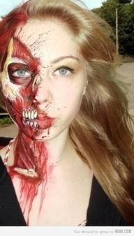 Beautifully painted special effects makeup.