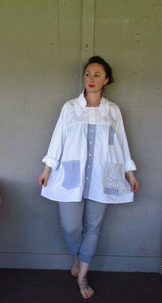 Funky Bohemian tunic/Eco upcycled clothing/repurposed Lagenlook top/white up cycled French Shabby shirt/summer Artsy jacket Large-X large: