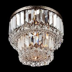 "Magnificence Satin Nickel 10"" Wide Crystal Ceiling Light"