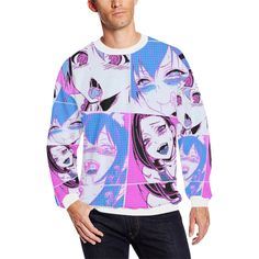 083690f9cdd95 Ahegao Pop Art Faces Oversized Fleece Crewneck Sweatshirt |  BigTexFunkadelic Pop Art Face, Crew Sweatshirts