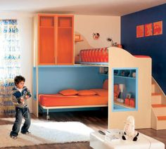 Kids bunk bed with storage cabinets (boys) - CS20 - moretticompact