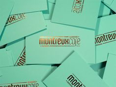 Montreux Café Identity System: Great colors and use of the gold foil! underconsideration.com