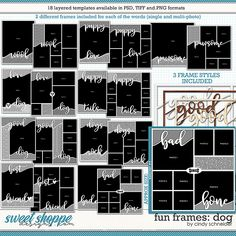 Cindy's Layered Templates - Fun Frames: Dog by Cindy Schneider Digital Scrapbooking, Frames, Sketches, Templates, Dog, Pets, Products, Drawings, Diy Dog