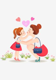 Feliz Madre E Hija Besando A Madre Feliz Madre E Hija Padre Hijo Gráfico vectorial y imagen PNG Mother Daughter Art, Mother Art, Daughter Love, Mother And Child, Mom Cards, Mothers Day Cards, Happy Mothers, Mother's Day Background, Cute Love Cartoons