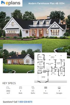 Check out this dream house with modern farmhouse style. You can go crazy with farmhouse decor in this cool plan. Call 1-800-528-8070 today. #architect #architecture #buildingdesign #homedesign #residence #homesweethome #dreamhome #newhome #newhouse #foreverhome #interiors #archdaily #modern #farmhouse #house #lifestyle #design