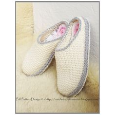 2in1-PACKAGE for White Crochet/Knit Slippers by PdfPatternDesign