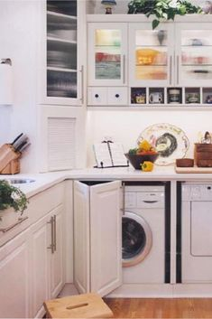Laundry Nook In Kitchen - how to hide washer and dryer in kitchen - DIY Kitchen Laundry Nook Ideas Laundry In Kitchen, Laundry Nook, Laundry Cabinets, Laundry Room Storage, Laundry Room Design, Diy Kitchen, Kitchen Design, Dvd Storage, Storage Ideas
