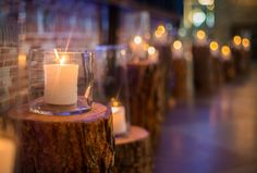 candles on logs