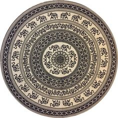PSYCHCEDELIC MARCHING HAATHI TAPESTRY ROUNDIE LARGE - Round throws, Mandalas Roundie, Tapestry wall hanging Roundie, Boho gypsy beach blanket throws and sheets