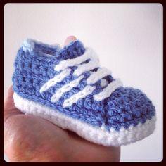 Baby sneaker Adidas style crochet knit handmade by Plumalicious