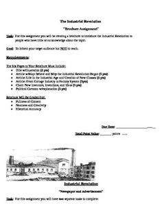 Industrial Revolution Brochure, Letter, and Newspaper Application Activities - Included in the following are 3 separate application activities to be used with your students to reinforce, review, and hammer home the Industrial Revolution...