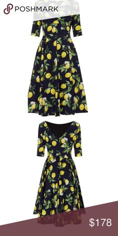 Pretty Dress Co. Hepburn Lemon Print UK size 16 This dress is usually sold out online.  Hepburn in Lemon Print, a new on trend print featuring a lemon print design set on a navy background. Created in a stretch cotton elastane. Design Details include; chic high neckline which flows into a flattering back 'V'. Mid length sleeves that finish above the elbow, cinched waist and swing skirt. Pretty Dress Company Dresses