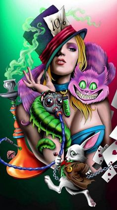 Alice and Friends Graffiti Wallpaper, Trippy Wallpaper, Cartoon Wallpaper, Graffiti Art, Crazy Wallpaper, Mobile Wallpaper, Dark Alice In Wonderland, Alice And Wonderland Tattoos, Dark Disney