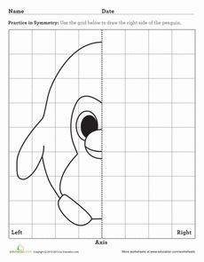Third Grade Math Worksheets: Penguin Axis of Symmetry Symmetry Worksheets, Art Worksheets, School Worksheets, Kindergarten Worksheets, Perspective Drawing Lessons, Science Penguin, Symmetry Art, Graph Paper Art, Creative Class