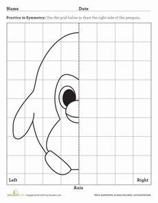 Third Grade Math Worksheets: Penguin Axis of Symmetry Symmetry Worksheets, Art Worksheets, School Worksheets, Kindergarten Activities, Art Activities, Perspective Drawing Lessons, Symmetry Art, Science Penguin, Graph Paper Art