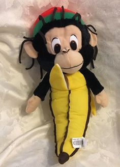 "Rasta Banana Monkey Stuffed Animal Plush Classic Toy Co. 16"" Dreads  | eBay"