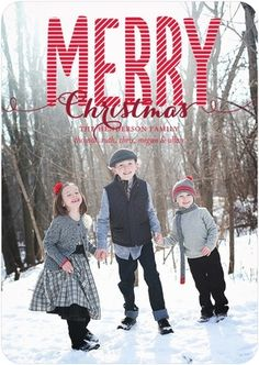 Adore the striped red font. Cute idea to have the kids in grey with a hint of red. Christmas photo card.