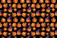 Pattern scary halloween pumpkins by TopVectors on @creativemarket