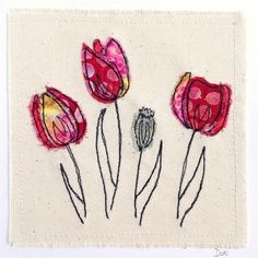 Like the multi fabric for flowers Tulips flower greeting card, Freehand Machine Embroidery, Free Motion Embroidery, Free Machine Embroidery, Free Motion Quilting, Embroidery Art, Sewing Art, Sewing Crafts, Sewing Projects, Fabric Cards