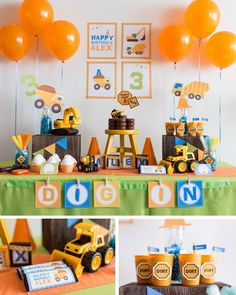 Construction birthday party! See more party planning ideas at CatchMyParty.com!