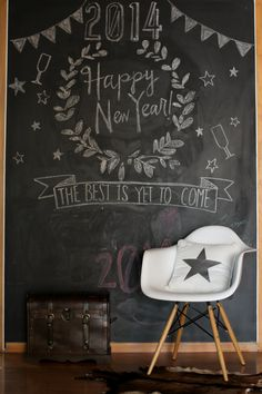 Chalkboard New Year's Chalkboard Writing, Kitchen Chalkboard, Chalkboard Drawings, Chalkboard Lettering, Chalkboard Designs, Black Chalkboard, Diy Chalkboard, Chalk Wall, Chalk Board