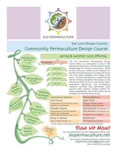 San Luis Obispo, CA The SLO Community Permaculture Design Course (PDC) is a jam-packed 72 hours that presents Permaculture, a whole-systems design methodology for resilient communities. Based on the curriculum crafted b… Click flyer for more >>