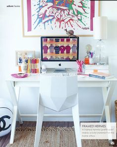 Amazing workspace with framed Hermes scarf as art