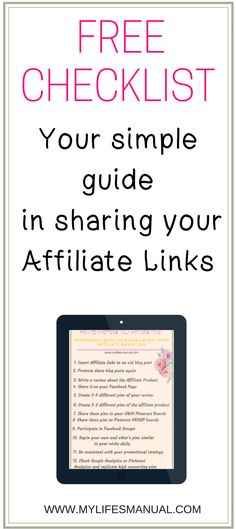 Affiliate Marketing for beginners checklist. Make passive income with affiliate marketing. Blogging tips. Pinterest tips. Make money online. Stay at home moms jobs. #blogger #pinterest #makemoneyonline #sahm