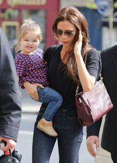 The Beckham Six Weekend in Paris: Victoria Beckham took her daughter Harper shopping in Paris on Saturday.