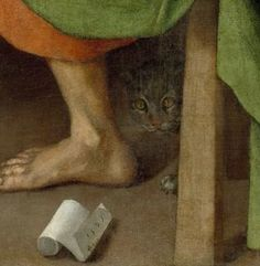 detail of cat from Supper in Emmaus  by Jacopo Pontormo