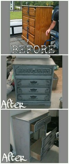 Our apartment had no room in the kitchen for a trash can.. now we do :) #diy #painted #furniture