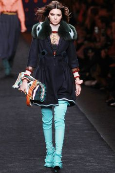Kendall Jenner led the pack down the runway at the Fendi show in Milan.