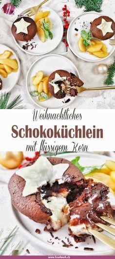 Schokoladenküchlein mit flüssigem Kern (Weihnachtsversion) | Food-Blog Schweiz | foodwerk.ch Perfect Chocolate Cake, Cake Chocolate, Sweet Bakery, Lava Cakes, Dessert Recipes, Desserts, Food Blogs, International Recipes, Creative Food
