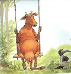 Illustration from children's book, 'Mama Moo and the Crow' by Jujja & Tomas Wieslander, illustrated by Sven Nordqvist.