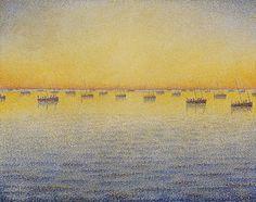 Paul Signac, Soleil couchant, pêche à la sardine, Opus 221 (Adagio) de la série La Mer, les barques, Concarneau, 1891, New York, The Museum of Modern Art.