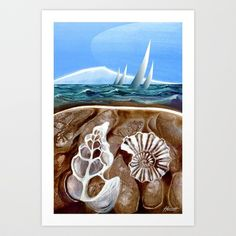 THE GEOLOGY OF BOATING Art Print by Patricia Howitt