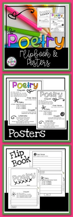 Poetry Flipbook is a great resource to use while teaching or reviewing poetry. Students can write examples of the different types of poetry in the flip book. Students can add flip books to writing journals to refer to during the year. Poetry poster included. (black lines and one in color) Free Verse Cinquain Haiku Couplet Limericks