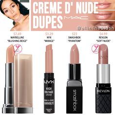 """I have another MAC Cosmetics Lipstick dupe to share with you! The next shade up on the dupe list is """"Creme D' Nude"""", a . dupes MAC Creme D' Nude Lipstick Dupes Mac Cosmetics Lipstick, Drugstore Makeup Dupes, Nude Lipstick, Mac Dupes, Eyeshadow Dupes, Lipsticks, Mac Blankety Lipstick, Eyeshadow Palette, Kylie Dupes"""