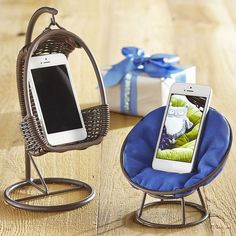 Your phone seems a little stressed. Let it unwind in a Swingasan® or Papasan holder.: