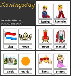 www.juf-lisanne.nl Woordkaarten thema koningsdag in blokletters