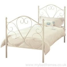The Isabelle white metal bed frame from Serene is created with wrought iron, finished by hand to create all the fine details. Single Metal Bed Frame, White Metal Bed, Bed Frame With Mattress, Bed Mattress, Comfort Mattress, Mattress Springs, Brass Bed, Childrens Beds, Beds For Sale