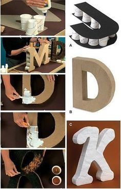 Como Fazer Letras de Papelão (Nome Decorativo) - You are in the right place about diy projects Here we offer you the most beautiful pictures about - Cardboard Letters, Diy Letters, Cardboard Crafts, Paper Crafts, Yarn Letters, Paper Letters, Art Crafts, 3d Paper, Decor Crafts