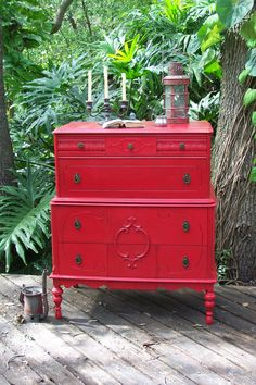 Red Dresser- inspiration for painting project.  Antique Red dresser for guest room