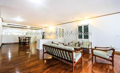 Sathorn Condo Rent At Baan Yenakard  -  Get information of this rental & other available condos or apartments for rent, go to http://bangkokcondofinder.com/bangkok-condos-for-rent/   This superb Sathorn condo rent at Baan Yenakard is on the ground floor and holds three bedrooms and four bathrooms.  Available on freehold, this 305-square meter condo features a balcony overlooking a pond while hardwood flooring and floor to ceiling windows are the rule throughout.  A sunke
