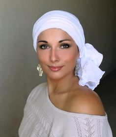White Cotton Gauze Turban Hat