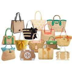 colorful straw bags