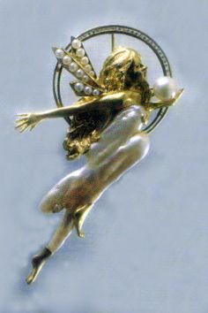 """""""Sprite"""" Beautiful little fairy brooch designed and created by Tom O of Tosa Fine Jewelers, Jan David, Inc. Wax Carving, Ruby Necklace, Baroque Pearls, Brooches, Rocks, Fairy, David, Jewellery, Jewels"""