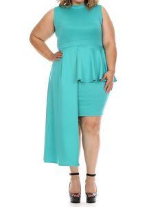 Plus Sleeveless Mock Neck Cascade Peplum Dress / Diva J's Closet